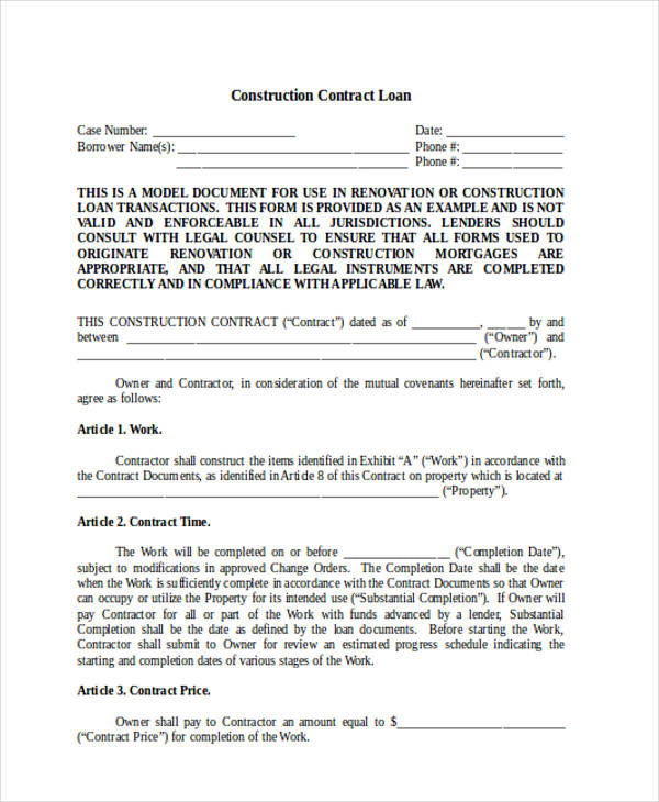 Renovation Contract Template Residential Construction Agreement
