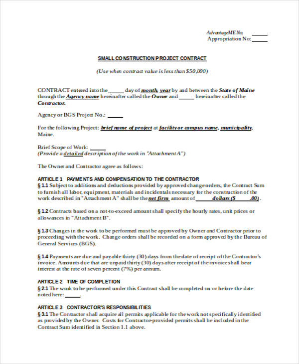 construction project contract agreement form