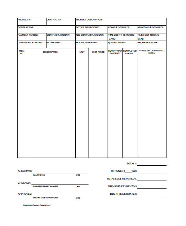 Construction Request For Payment Form  Payment Form Template