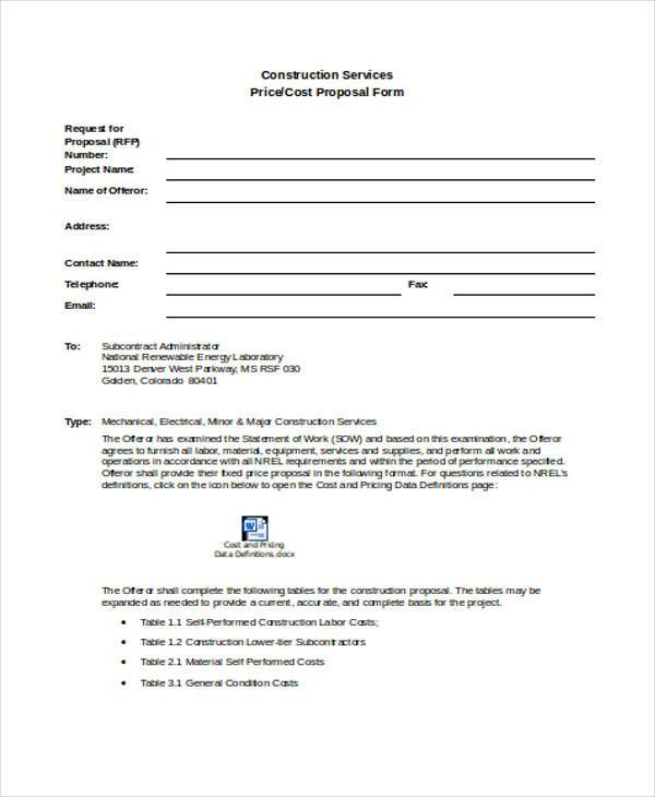 Construction Proposal Form Samples  Free Sample Example