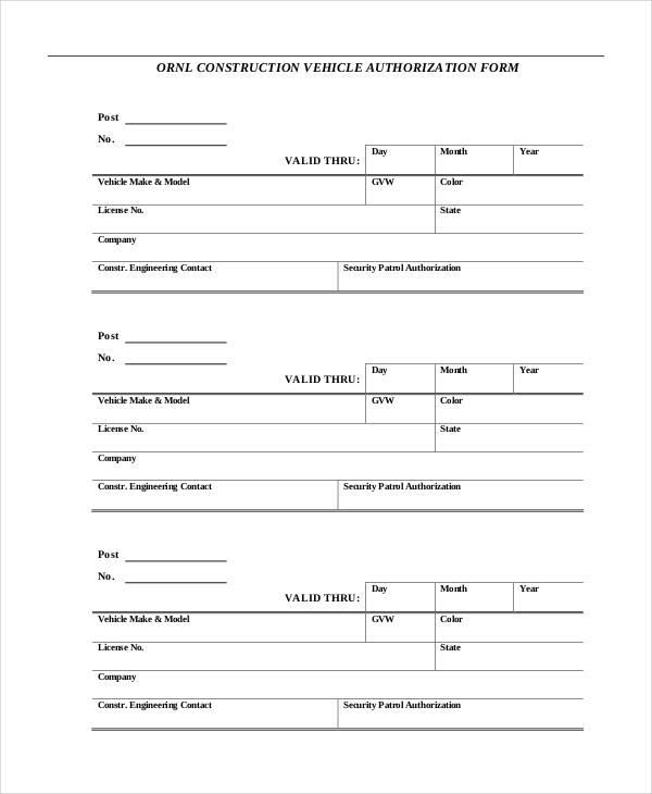 construction vehicle authorization form