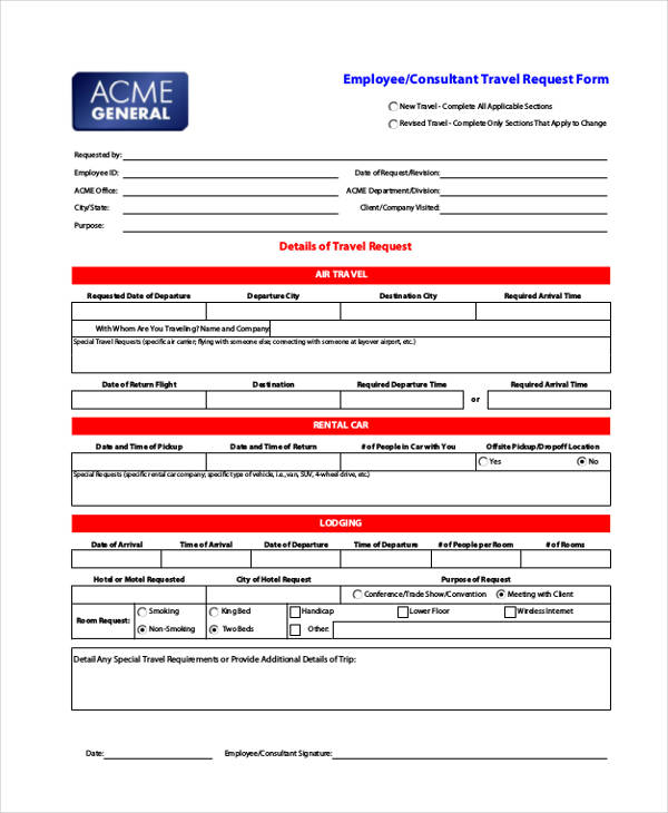 Travel Request Forms Sample Travel Authorization Form Sample Travel