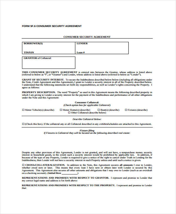 consumer loan security agreement