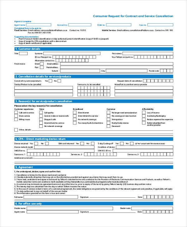 consumer request for contract service cancellation form