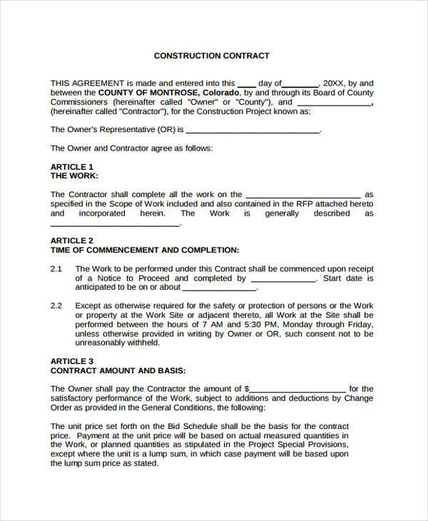 contract agreement for construction