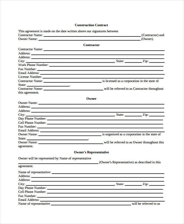 contract agreement form