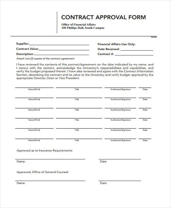 contract approval form sample