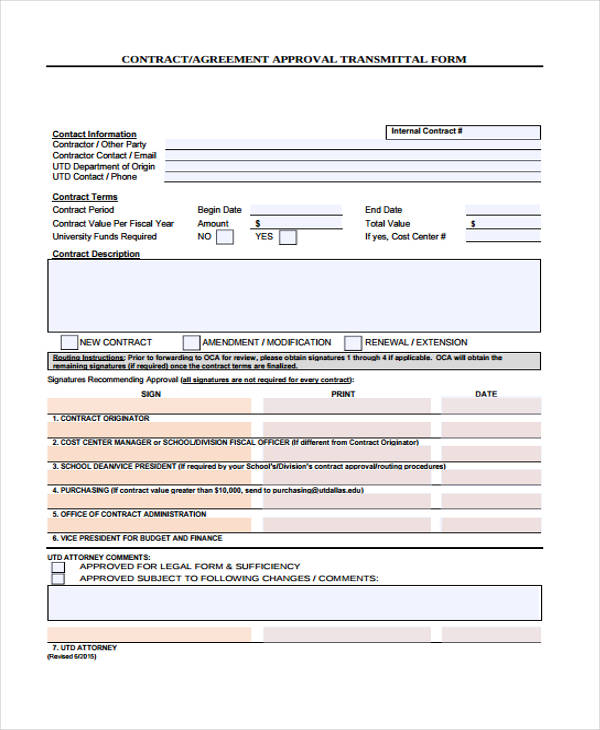 contract approval transmittal agreement form