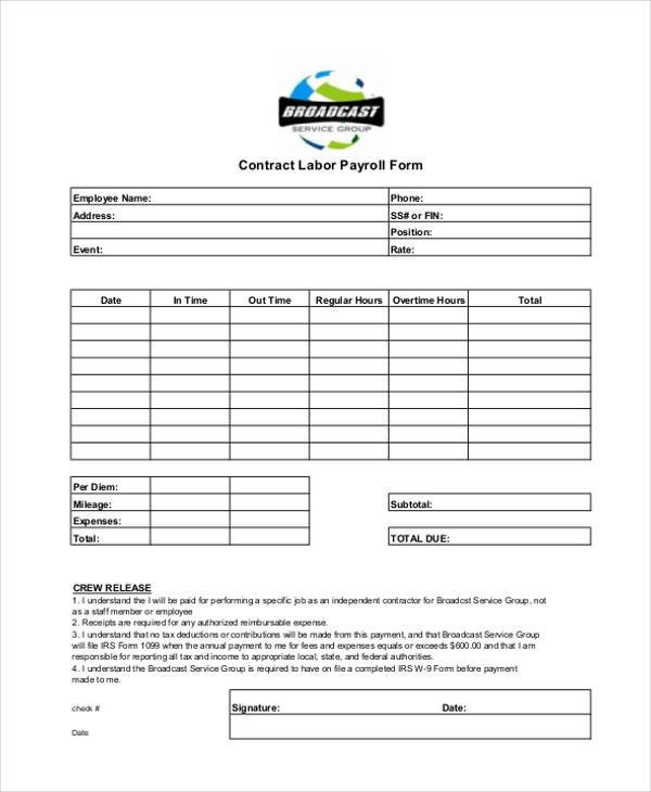 contract labor payroll form