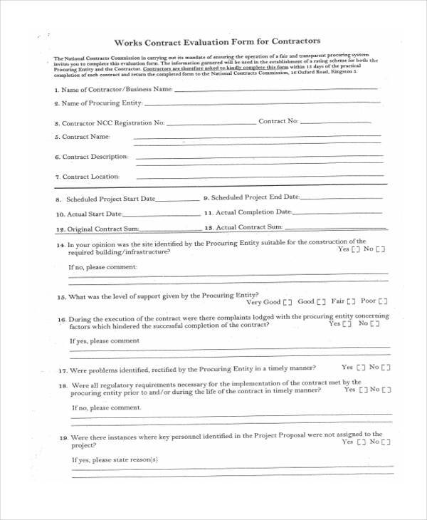 contract work evaluation form