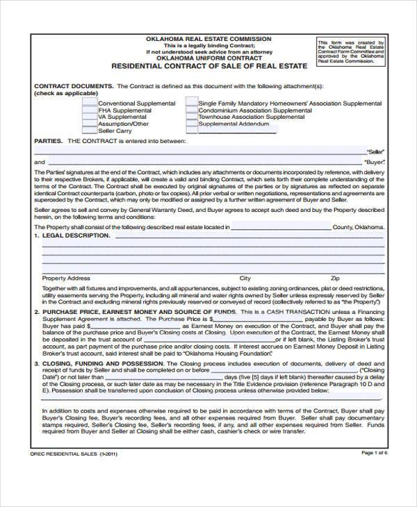 contract for sale of real estate form