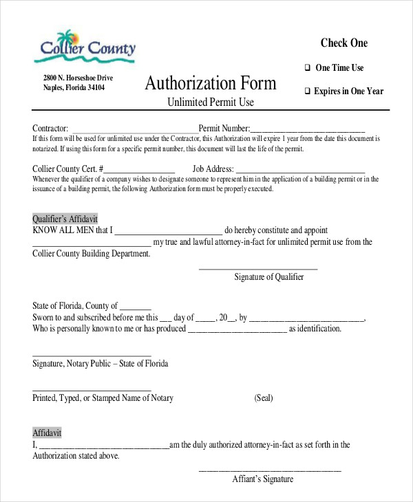 contractor affidavit authorization form