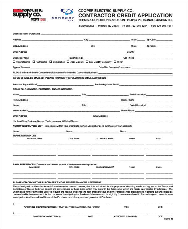 contractor credit application form pdf