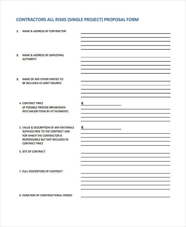 9+ Contractor Proposal Form Samples - Free Sample, Example Format