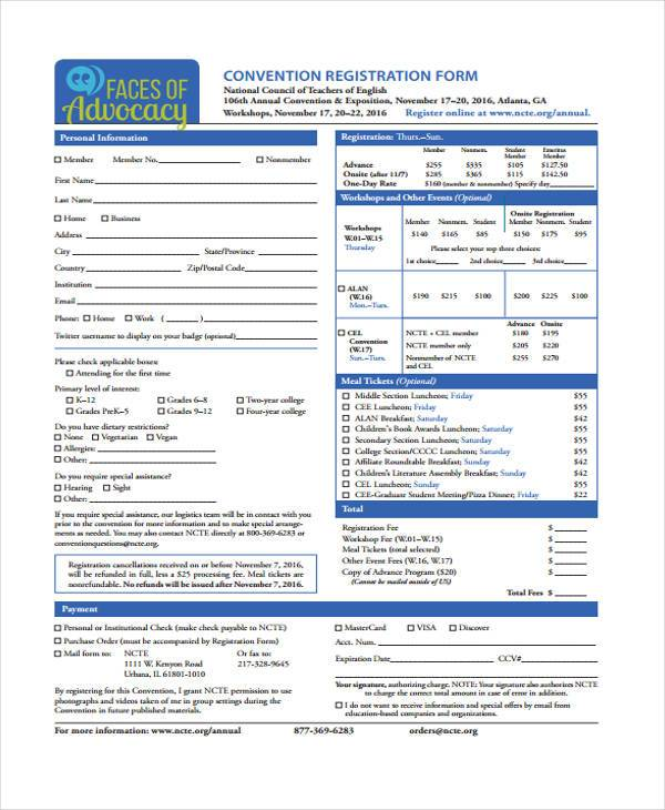 convention registration form in pdf