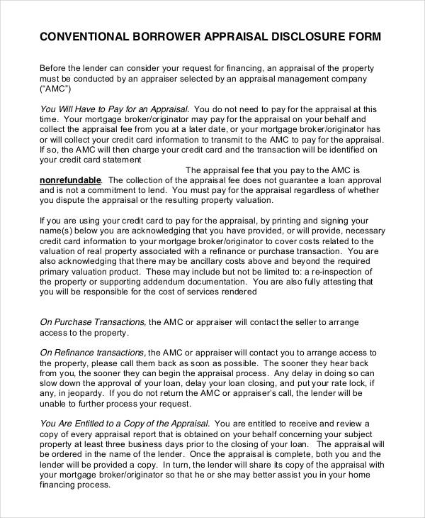 conventional borrower appraisal disclosure form