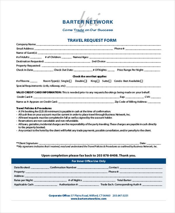 corporate business travel request form