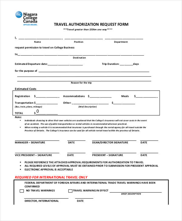 New Travel Request form Sample Travel Request form ...