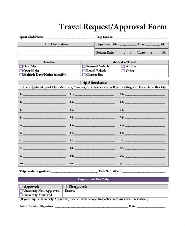 corporate travel request approval form1