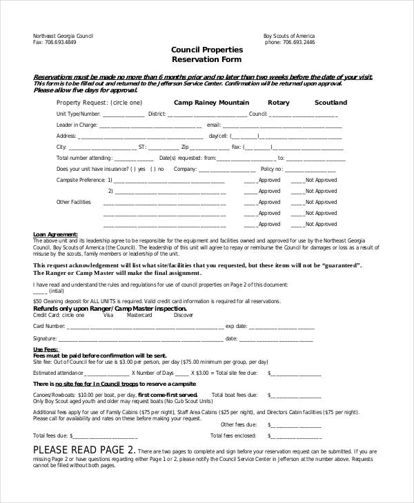 council property reservation form1