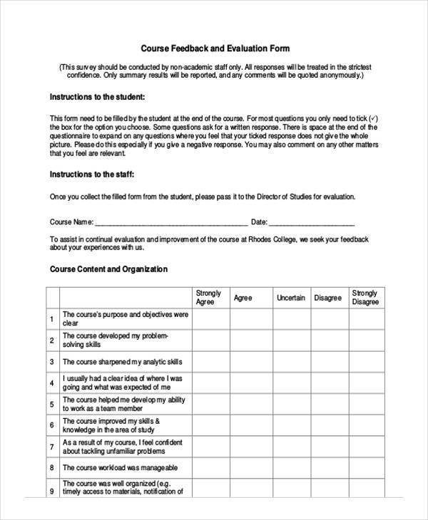 course feedback evaluation form2