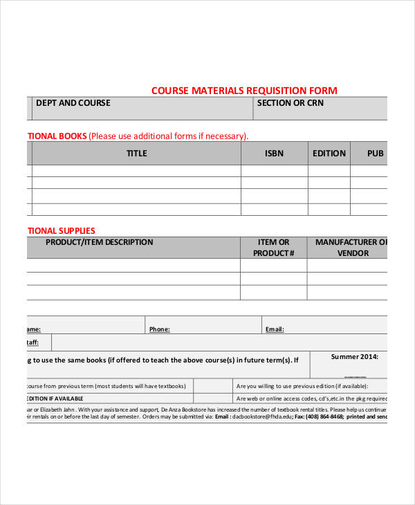 course material requisition form