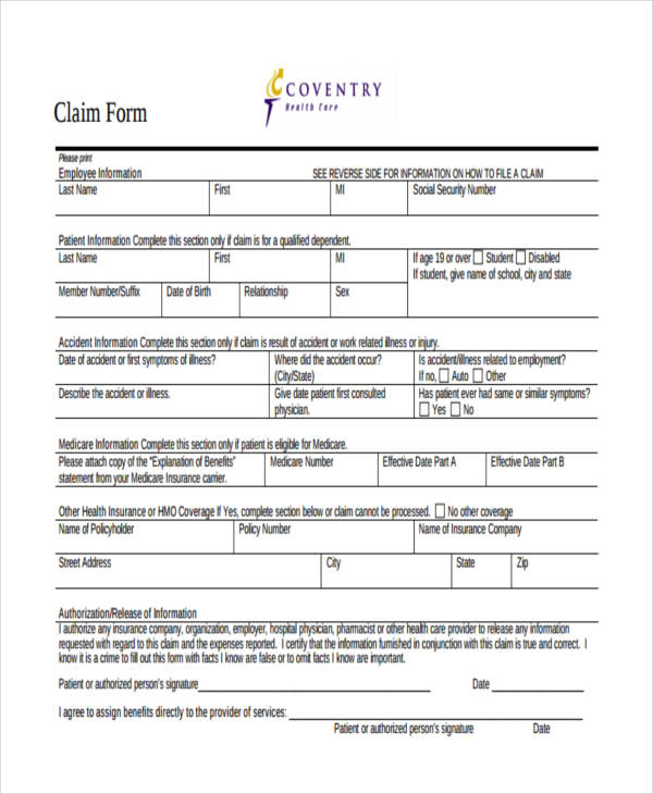 coventry health care claim form