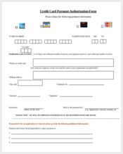 credit card payment authorization form