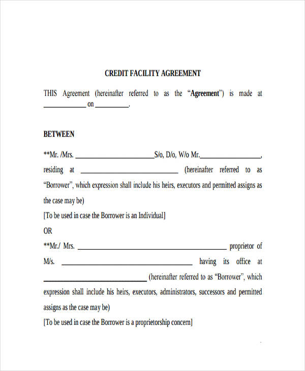 credit facility agreement
