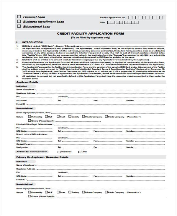 credit facility loan application form