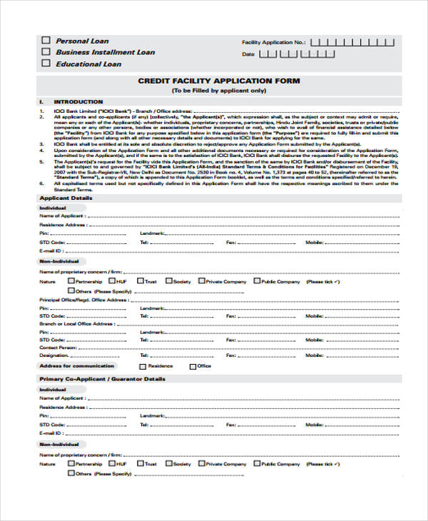 credit facility loan application form1