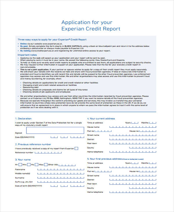 credit report request application form