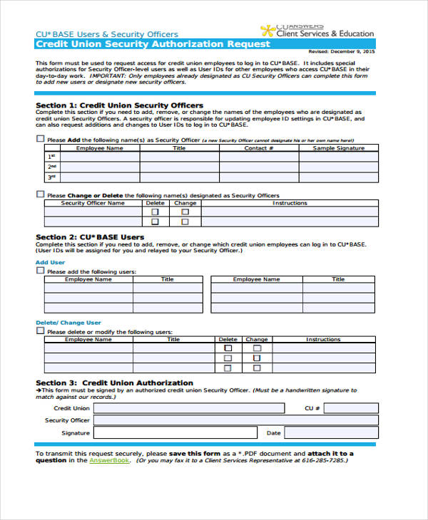 credit union security authorization request form