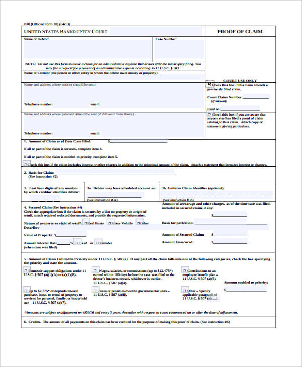 creditor proof of claim form