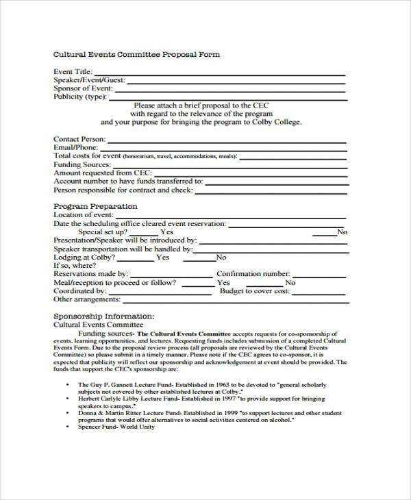 Cultural Committee Event Proposal Form  Events Proposal Sample