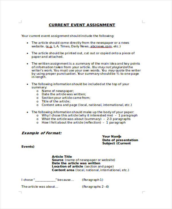 current events assignment Current events assignment sheet keeping up with current events, or the state of the world, is an important task for any  about current events and what is happening .