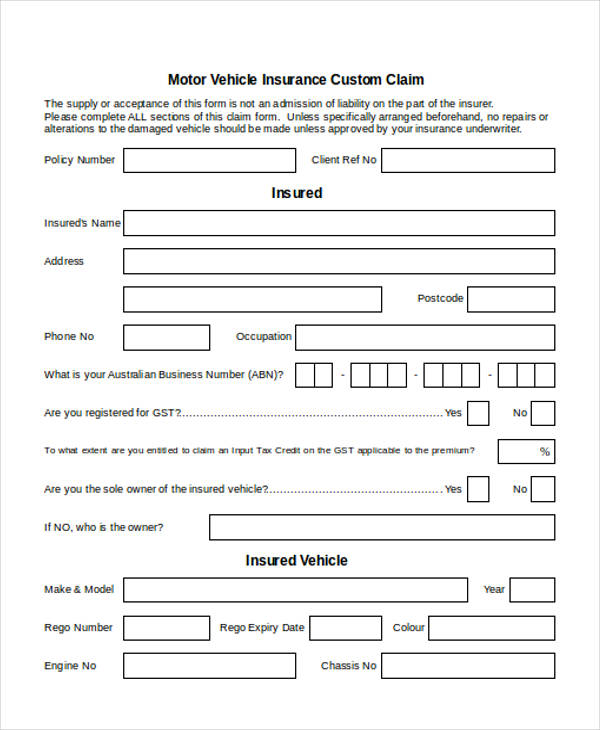 custom claim form