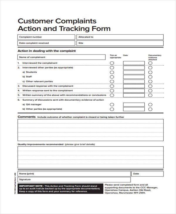 customer complaint tracking form
