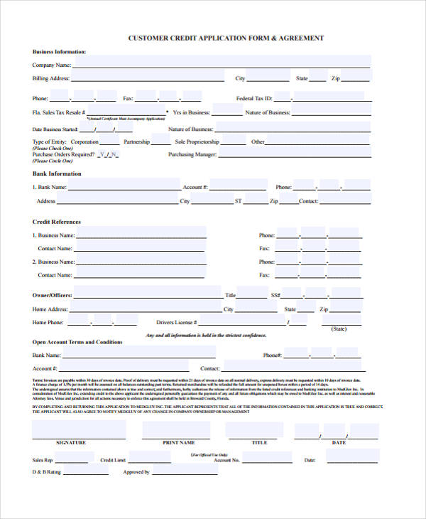 Credit Application Forms Sample Credit Application Form Doents In