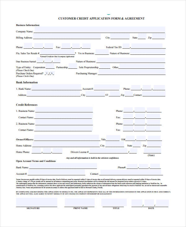 15  credit application form templates