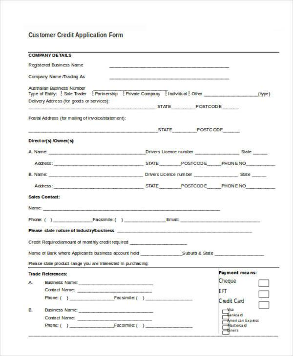 customer credit application form