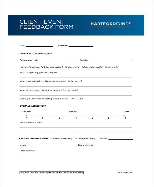 customer event feedback form