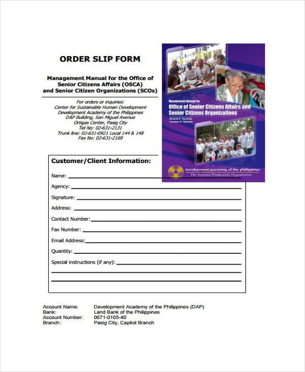 customer order slip form