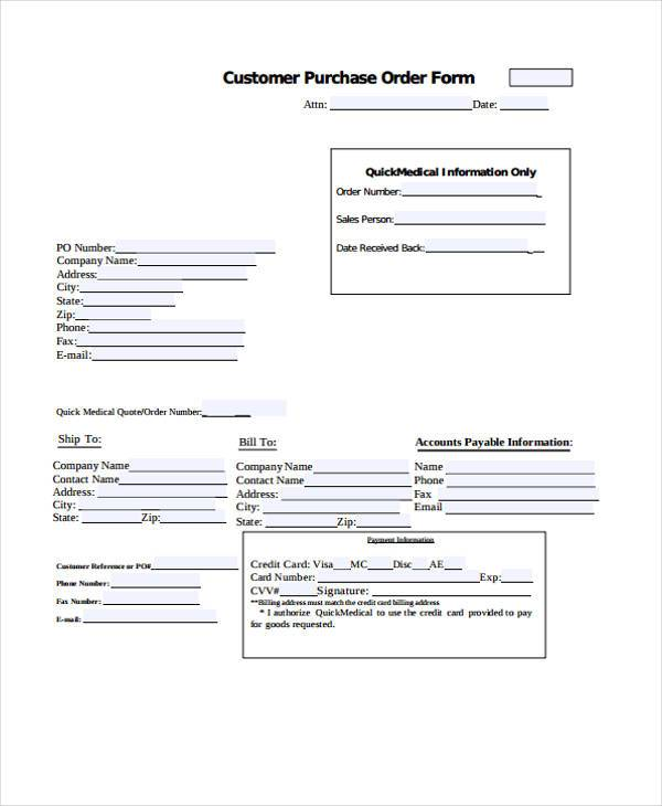 customer purchase order form