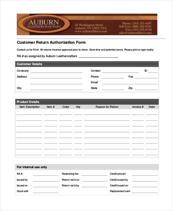 customer return authorization form