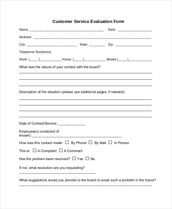 Service Form Template – Customer Contact Form Template