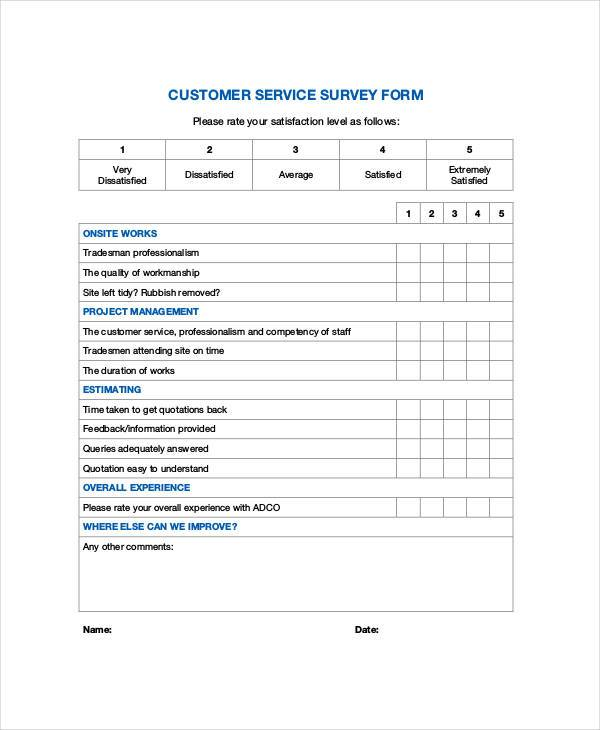 Service Forms Format