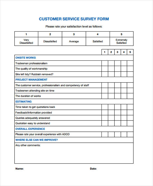 customer service survey form4