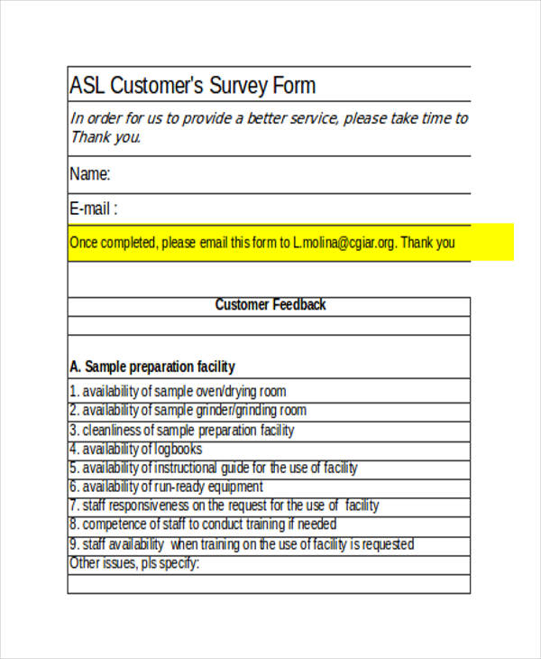 customer survey form example