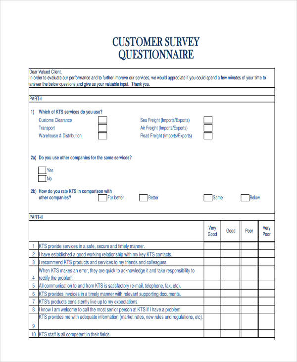customer survey questionnaire form